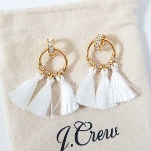 J.CREW Pave Tassel Earrings White
